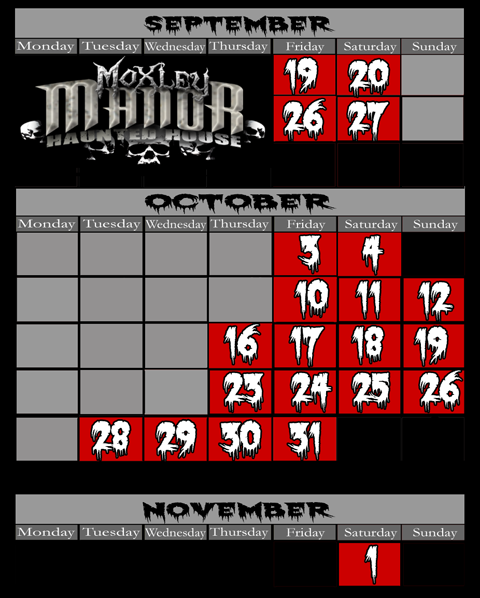 Ft. worth / Dallas haunted house calendar