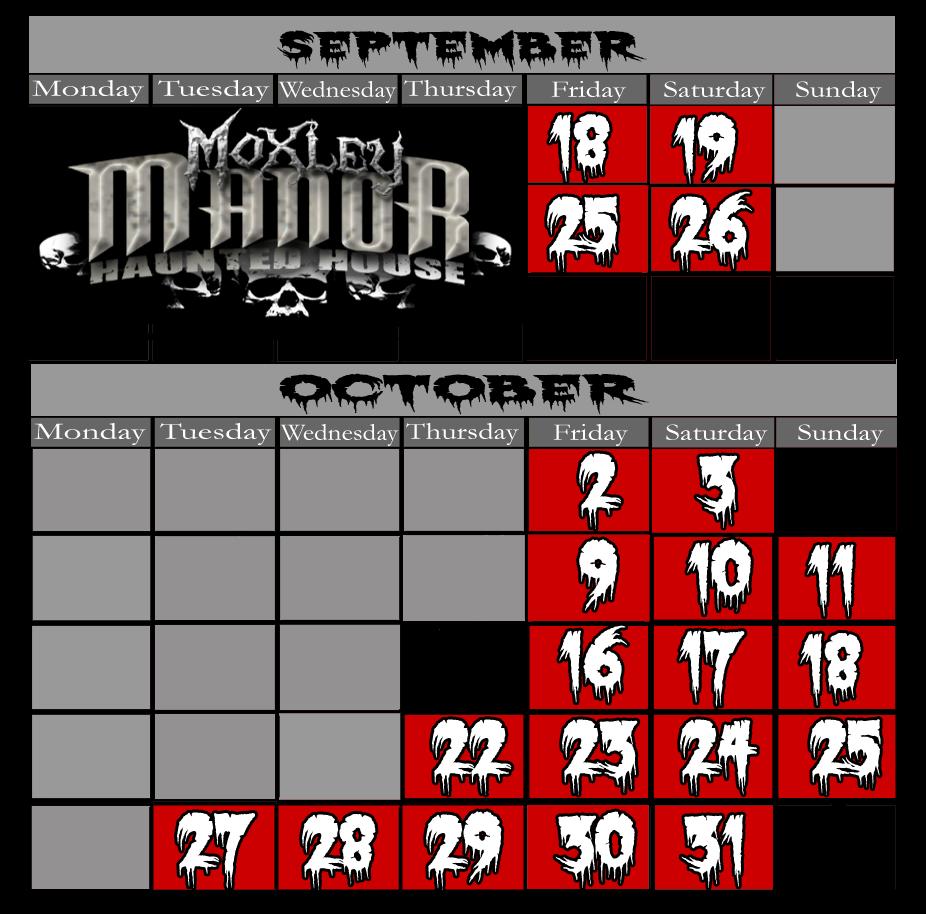 Haunted House Schedule